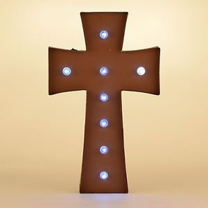 Glitzhome Rusty Marquee LED Lighted Cross Sign Wall Decor Battery Operated, Red