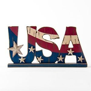 """Glitzhome Patriotic Wooden """"USA"""" Wording Sign Decor With Stars"""