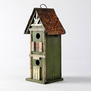 Glitzhome Rustic Garden Distressed Wooden Birdhouse, Sun Flower