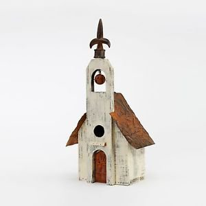 Glitzhome Rustic Garden Distressed Wooden Birdhouse, Metal Spear and Bell
