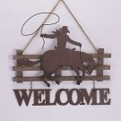 Glitzhome Rusty Cowboy Sign Letter 'Welcome' Hanging Decor