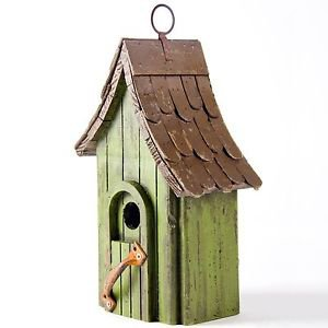 Glitzhome Rustic Garden Distressed Wooden Birdhouse, Metal Door Handle