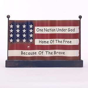 Glitzhome Rustic Iron/Wooden American Flag Patriotic Table Decor