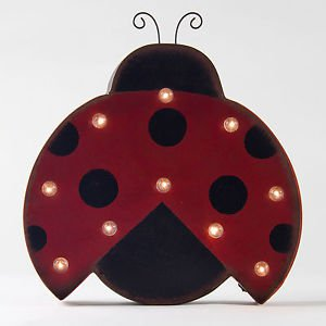 Glitzhome Marquee LED Lighted Ladybug Sign Wall Decor Battery Operated