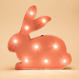Glitzhome Vintage Style Marquee Pink Bunny Sign LED Light Easter Wall Decor