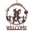 Glitzhome Rusty Metal Western Cowboy Welcome Wreath Sign