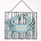 "Glitzhome Galvanized Nautical Crab ""Fresh Crabs"" Sign Wall Hanging Decor"