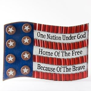 Glitzhome Patriotic Iron National Flag Wall Decor