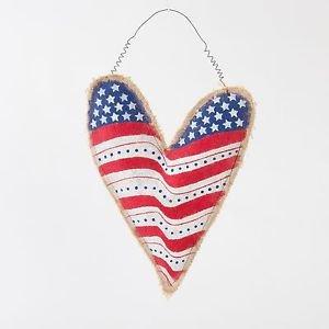 Glitzhome Burlap Stars & Stripes Patriotic Heart Shaped Door Hanger