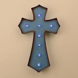 Glitzhome Marquee LED Lighted Cross Sign Wall Decor Battery Operated, Blue