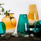 "Glitzhome 9.06"" Hand-blown European Classical Two Tone Glass Vase, Amber"