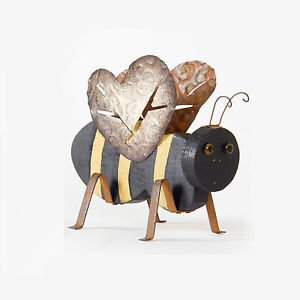 Glitzhome Garden Ornaments Handcrafted Iron/Wooden Decorative Bee