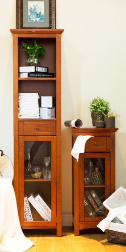 """Glitzhome 65.55""""H Wooden Floor Storage Cabinet with 4-Shelves and 1-door"""