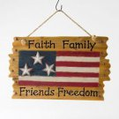"Glitzhome Patriotic Wooden ""Faith Family Friends Freedom"" American Flag Wall Dec"