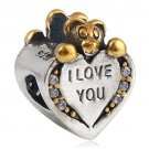 I Love You Bear 925 Sterling Silver Charm Bead Fit Pandora