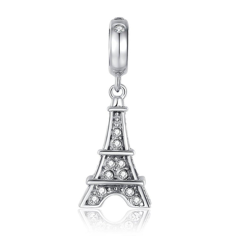 Eiffel Tower Dangle Swarovski Charm 925 Sterling Silver Bead Fit Pandora Charms