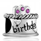 Bling Crystal Happy Birthday Cake Birthstone Bead Fits Pandora Charms Bracelet