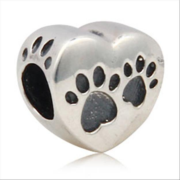 Love Dog Puppy Paw Footprint on Heart Authentic 925 Sterling Silver Bead Fits Pandora Charms