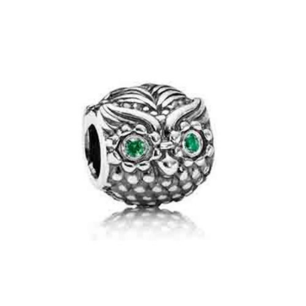"""Owl Charm"" 925 Sterling Silver Bead Fits Pandora Charms Bracelets"