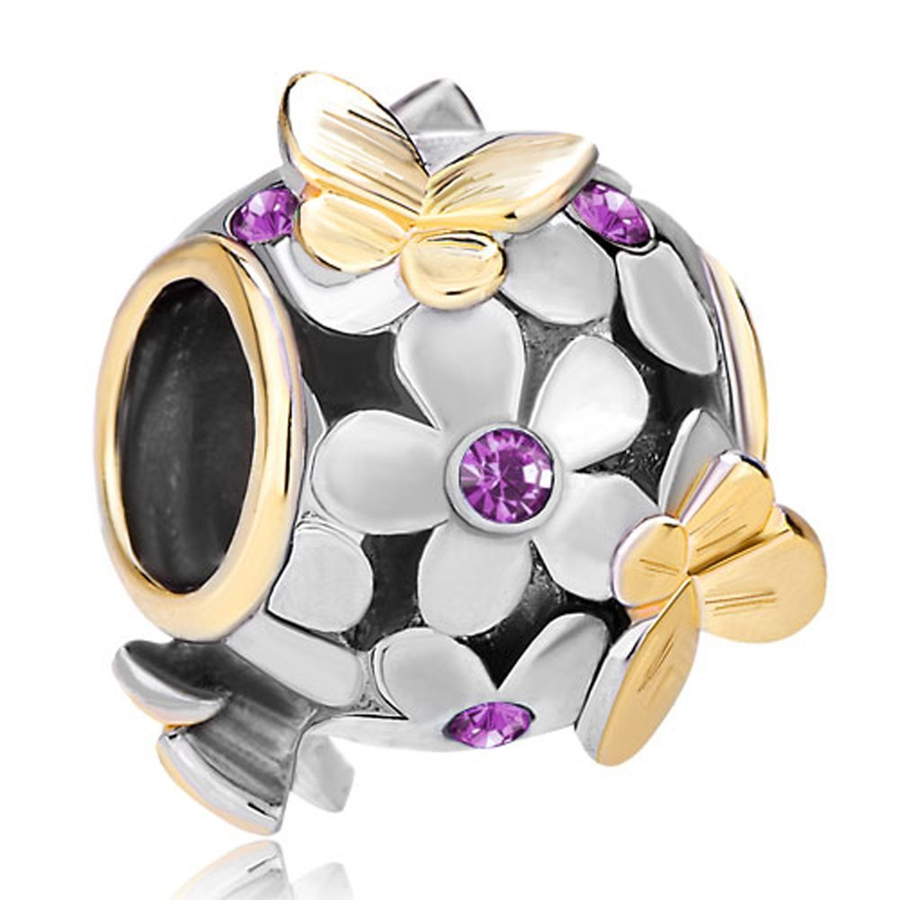 Authentic 925 Sterling Silver Butterfly Charm Purple Crystal Bead Fit Pandora Charms
