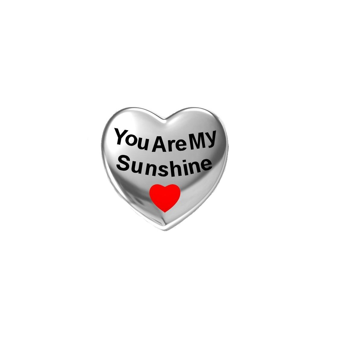 """You are My Sunshine"" Red Enamel Heart Love 925 Silver Bead Fit Pandora Charms"