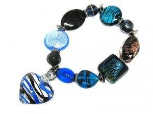 Murano Blue Glass heart Charm Bracelet