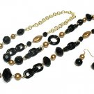 Beautiful Black Petina Bead Necklace and Earring Set