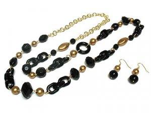 Beautiful Black Petina Bead Necklace and Earring Set