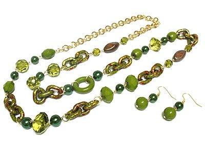 Beautiful Green Petina Bead Necklace and Earring Set