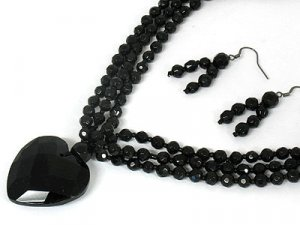 Gorgeous Black Glass Bead and Heart Triple Row Necklace and Earring Set