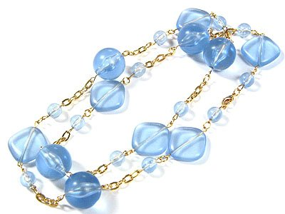 Beautiful Blue Resin Ice Necklace