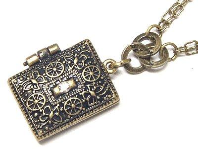 Filigree Metal Locket Charm Necklace