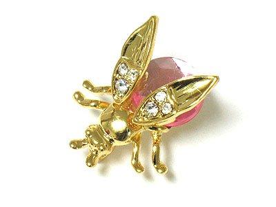 Beautiful Pink Crystal Bug Brooch