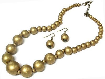 Gold Wooden Necklace and Earring Set