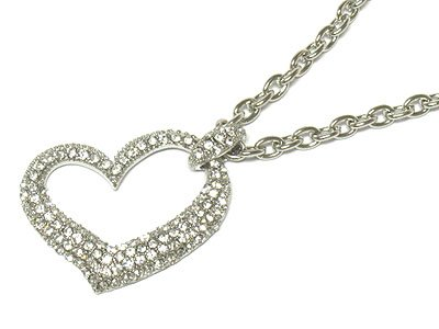 Gorgeous Crystal Open Heart necklace