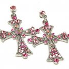 Beautiful Pink Crystal Cross Earrings