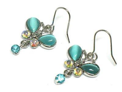 Cute Aqua Crystal Cats eye Butterfly Earrings
