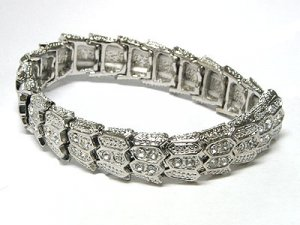 Beautiful Crystal Stud Metal Stretch bracelet
