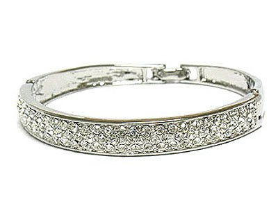 Half RoundRhinestone Bangle Bracelet