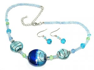 Classy Murano Glass Necklace and Earring set