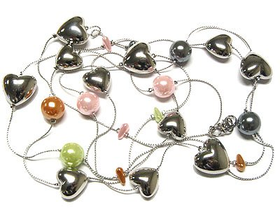 Beautiful Pearl and Metal Heart Necklace