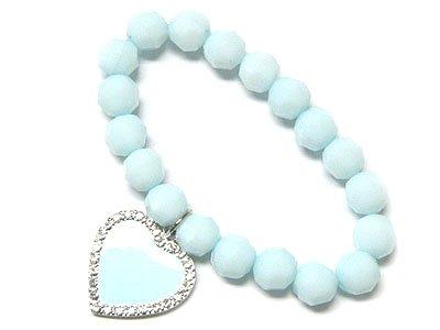 Cute Blue Epoxy Heart bracelet