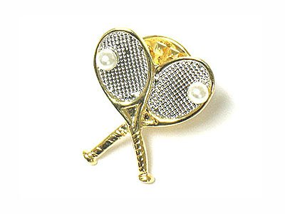Cute Tennis racket and ball brooch