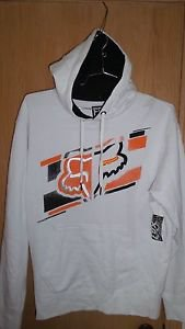 "Fox Racing ""Dieter"" Embroidered Pullover Hooded Fleece - White - NEW"