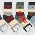 COLOR BLOCK HUSH MEN'S COTTON CASUAL NY  SOCKS MADE IN KOREA