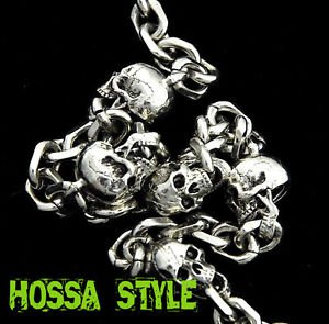 Motorcycle Misfits Silver Skull Hiphop Punk Rock NY Jeans Wallet Key Chain SJ13