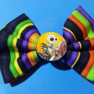 Disney's Nightmare Before Christmas Multi-colored Stripped Fabric Bow
