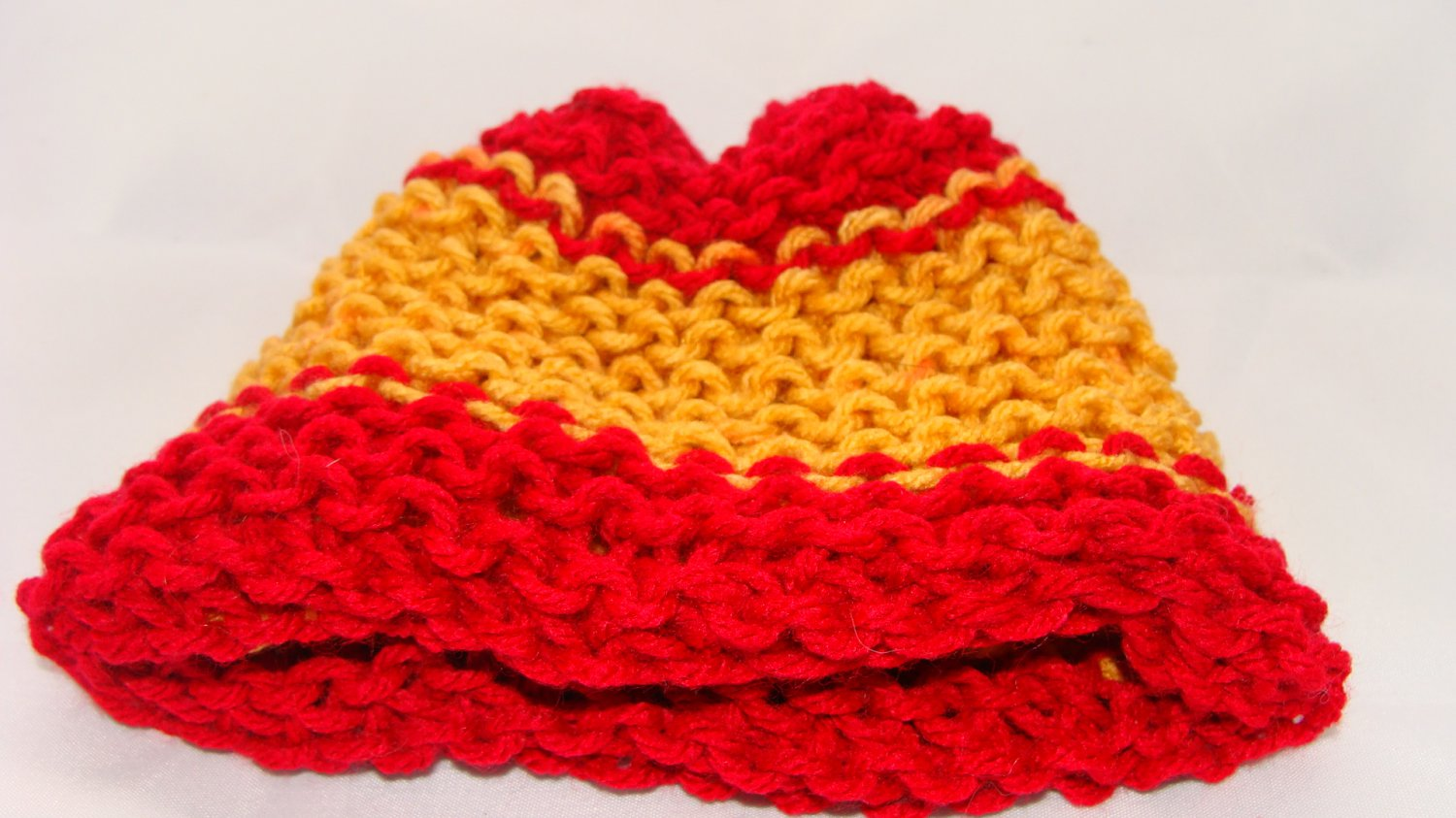 Kids Double knit Red and Yellow hat