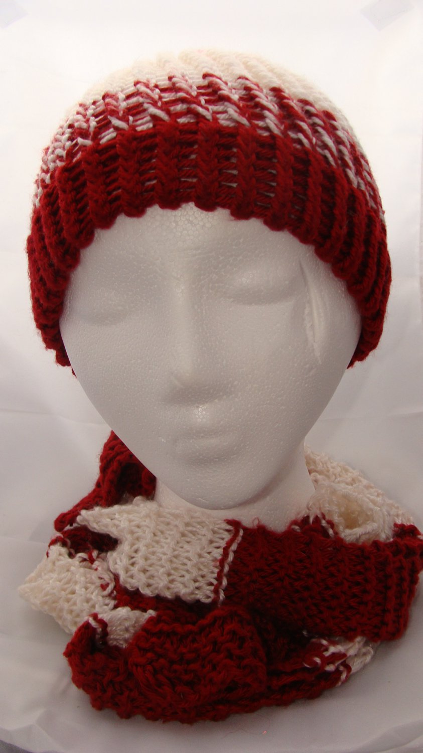 Adult red and white hat and scarf combo