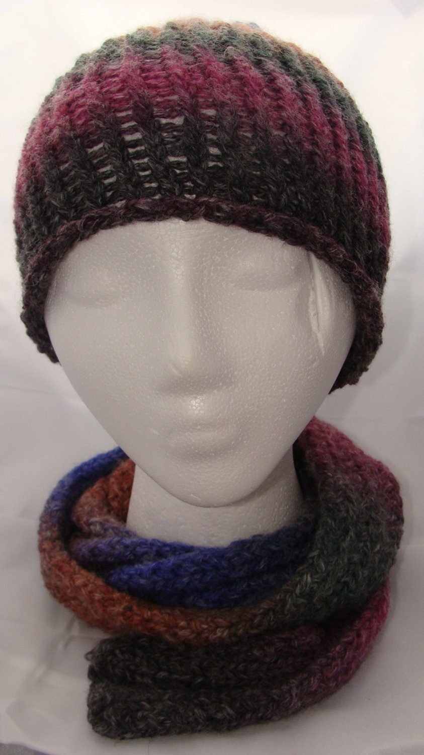 Adult warm and soft hat and ribbed scarf combo